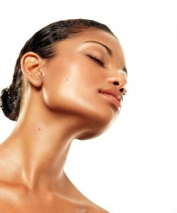 Woman with flawless skin on face and neck